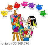 Cartoon Illustration of Basic Colors Educational Worksheet with Artist Painter Character. Стоковое фото, фотограф Zoonar.com/Igor Zakowski / easy Fotostock / Фотобанк Лори