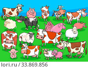 Cartoon Illustration of Happy Farm Animals Comic Characters Group on the Meadow. Стоковое фото, фотограф Zoonar.com/Igor Zakowski / easy Fotostock / Фотобанк Лори