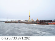 Купить «Frozen River Neva and bastion of Peter and Paul Fortress in St.Petersburg, Russia.», фото № 33871292, снято 29 мая 2020 г. (c) easy Fotostock / Фотобанк Лори