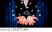 Купить «Person holding hologram screen displaying information from cloud technology», фото № 33871304, снято 30 мая 2020 г. (c) easy Fotostock / Фотобанк Лори