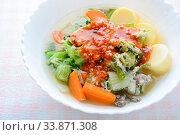 Купить «Enjoy eating with Sukiyaki, it is an healthy foods in Japanese style.», фото № 33871308, снято 29 мая 2020 г. (c) easy Fotostock / Фотобанк Лори