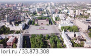 Panoramic aerial view of city center of Voronezh with Lenin Square, Russia (2019 год). Стоковое видео, видеограф Яков Филимонов / Фотобанк Лори