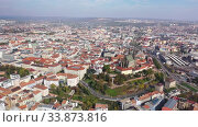 Aerial view on the city Brno. South Moravian region. Czech Republic (2019 год). Стоковое видео, видеограф Яков Филимонов / Фотобанк Лори