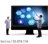 Купить «Telehealth concept with doctor doing remote check-up», фото № 33874116, снято 29 мая 2020 г. (c) Elnur / Фотобанк Лори