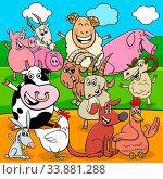 Cartoon Illustration of Happy Farm Animals Comic Characters Group. Стоковое фото, фотограф Zoonar.com/Igor Zakowski / easy Fotostock / Фотобанк Лори