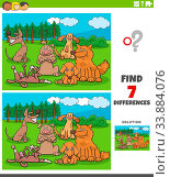 Cartoon Illustration of Finding Differences Between Pictures Educational Game for Children with Funny Comic Dogs Characters Group. Стоковое фото, фотограф Zoonar.com/Igor Zakowski / easy Fotostock / Фотобанк Лори