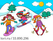 Cartoon Illustrations of Snowboarding and Skiing Girls Characters on Winter Time. Стоковое фото, фотограф Zoonar.com/Igor Zakowski / easy Fotostock / Фотобанк Лори