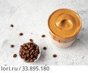 Dalgona coffee, top view, copy space. Стоковое фото, фотограф Ольга Сергеева / Фотобанк Лори
