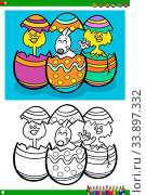 Cartoon Illustrations of Easter Bunny and Chicks with Eggs Coloring Book Page. Стоковое фото, фотограф Zoonar.com/Igor Zakowski / easy Fotostock / Фотобанк Лори