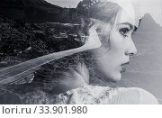 Купить «Double exposure. Portrait of woman combined with a mountain road and the sea. Black and white photo», фото № 33901980, снято 1 августа 2013 г. (c) Alexander Tihonovs / Фотобанк Лори
