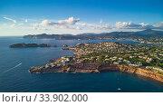 Aerial view coastline near Port Adriano, located just below the cliffs of the small neighborhood of El Toro, an area in the municipality of Calvia. Island of Majorca. España, Spain (2018 год). Стоковое фото, фотограф Alexander Tihonovs / Фотобанк Лори