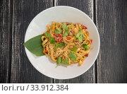 Delicious dish of pasta on the white plate. Стоковое фото, фотограф Константин Шишкин / Фотобанк Лори
