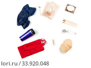 Textile eco bags, glass jars and bamboo toothbrush on white background. Zero waste concept. Стоковое фото, фотограф Константин Лабунский / Фотобанк Лори