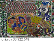Madhubani painting representing hindu mythology ( Bihar, India). The Madhubani ( or Mithila) style of painting is an art form practiced in northern India... Стоковое фото, фотограф Franck Metois / age Fotostock / Фотобанк Лори
