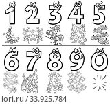 Black and White Cartoon Illustration of Educational Numbers Collection from One to Nine with Funny Insects Animal Characters Coloring Book Page. Стоковое фото, фотограф Zoonar.com/Igor Zakowski / easy Fotostock / Фотобанк Лори