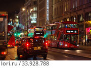 Купить «LONDON - NOVEMBER 17, 2016: Strand street with Routemaster diesel-electric hybrid double deck bus», фото № 33928788, снято 17 ноября 2016 г. (c) Nataliia Zhekova / Фотобанк Лори