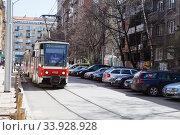 SOFIA, BULGARIA - April 04, 2018: Sofia tramway network. Sofia is the capital and largest city of Bulgaria. Редакционное фото, фотограф Nataliia Zhekova / Фотобанк Лори