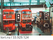 Купить «LONDON - AUGUST 22, 2017: Old double decker buses in London Transport Museum, the UK. This is an exhibition of the London Transport», фото № 33929124, снято 22 августа 2017 г. (c) Nataliia Zhekova / Фотобанк Лори