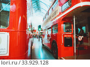 Купить «LONDON - AUGUST 22, 2017: Old double decker buses in London Transport Museum, the UK. This is an exhibition of the London Transport», фото № 33929128, снято 22 августа 2017 г. (c) Nataliia Zhekova / Фотобанк Лори
