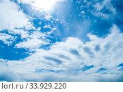 Купить «Голубое небо. Blue sky background. Picturesque blue sky landscape», фото № 33929220, снято 16 мая 2020 г. (c) Зезелина Марина / Фотобанк Лори