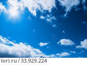 Купить «Синее небо. Dramatic blue sky background. Colorful blue sky view in bright tones», фото № 33929224, снято 21 мая 2020 г. (c) Зезелина Марина / Фотобанк Лори