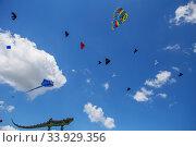 Kites flying in a blue sky. Kites of various shapes. Стоковое фото, фотограф Nataliia Zhekova / Фотобанк Лори