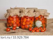 Купить «Transparent banks with marinated Cherry tomatoes», фото № 33929784, снято 26 августа 2016 г. (c) Nataliia Zhekova / Фотобанк Лори
