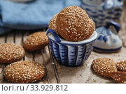 Oatmeal chip cookies shot closeup. Стоковое фото, фотограф Nataliia Zhekova / Фотобанк Лори
