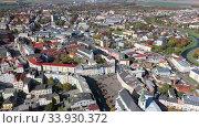Aerial view of historical Silesian city of Opava on sunny autumn day, Czech Republic (2019 год). Стоковое видео, видеограф Яков Филимонов / Фотобанк Лори