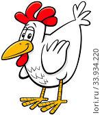 Cartoon Illustration of Comic Hen or Chicken Farm Bird Animal Character. Стоковое фото, фотограф Zoonar.com/Igor Zakowski / easy Fotostock / Фотобанк Лори