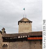 The Chillon castle in Montreux. Geneva lake, Switzerland, (2012 год). Стоковое фото, фотограф Александр Карпенко / Фотобанк Лори