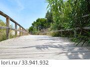 Wooden empty board walk leading through sandy dunes to Mediterranean Sea and beach of Los Arenales del Sol or Arenals del Sol. Costa Blanca, Europe, Spain. Espana. Стоковое фото, фотограф Alexander Tihonovs / Фотобанк Лори