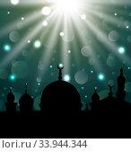 Illustration celebration glowing card for Eid Ul Adha festival - vector. Стоковое фото, фотограф Zoonar.com/-=Mad Dog=- / age Fotostock / Фотобанк Лори
