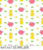 Купить «Illustration Seamless Pattern with Moneybox, Bank Notes, Coins, Flat Finance Icons -», фото № 33945268, снято 10 июля 2020 г. (c) age Fotostock / Фотобанк Лори
