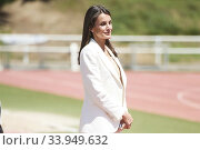 Купить «Queen Letizia of Spain visits High Performance Center (CAR) at Consejo Superior de Deportes Facilities on June 8, 2020 in Madrid, Spain», фото № 33949632, снято 8 июня 2020 г. (c) age Fotostock / Фотобанк Лори