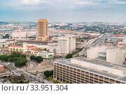 Купить «Aerial Los Angeles downtown skyscrapers in Los Angeles California USA.», фото № 33951304, снято 10 июля 2020 г. (c) easy Fotostock / Фотобанк Лори