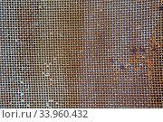 Купить «Old rusty mesh in blurring. Colorful pattern.», фото № 33960432, снято 8 мая 2017 г. (c) Nataliia Zhekova / Фотобанк Лори