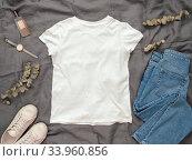 Купить «White t-shirt mock up, copy space for print design», фото № 33960856, снято 8 июня 2020 г. (c) Ольга Сергеева / Фотобанк Лори