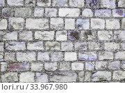 Купить «Grey and purple grunge brick wall background», фото № 33967980, снято 22 августа 2017 г. (c) Nataliia Zhekova / Фотобанк Лори