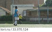 Купить «African American soccer kid in blue scoring in a sunny day», видеоролик № 33970124, снято 18 октября 2019 г. (c) Wavebreak Media / Фотобанк Лори