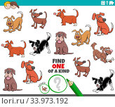 Cartoon Illustration of Find One of a Kind Picture Educational Game with Playful Dogs and Puppies Animal Characters. Стоковое фото, фотограф Zoonar.com/Igor Zakowski / easy Fotostock / Фотобанк Лори
