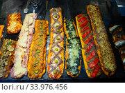Купить «Coca de recapte, a thin crust vegetable pizza or tarte», фото № 33976456, снято 2 июля 2020 г. (c) Яков Филимонов / Фотобанк Лори