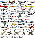 Купить «Passenger airliners isolated on white», фото № 33976472, снято 12 июля 2020 г. (c) Яков Филимонов / Фотобанк Лори