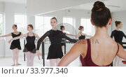 Caucasian ballet female dancers exercising with a barre by a mirror during a ballet class . Стоковое видео, агентство Wavebreak Media / Фотобанк Лори