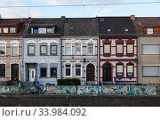 Germany, Bremen - terraced houses in the working class district of Groepelingen near the port. Редакционное фото, агентство Caro Photoagency / Фотобанк Лори