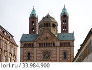 Speyer, Germany, Towers of Speyer Cathedral (2020 год). Редакционное фото, агентство Caro Photoagency / Фотобанк Лори