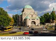 Old synagogue, Essen, Ruhr area, North Rhine-Westphalia, Germany. Редакционное фото, агентство Caro Photoagency / Фотобанк Лори
