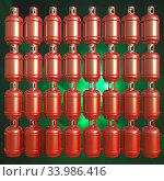 Купить «Propane gas cylinders isolated on a green background. 3d illustration.», фото № 33986416, снято 14 июля 2020 г. (c) age Fotostock / Фотобанк Лори