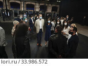 King Felipe VI of Spain, Queen Letizia of Spain visit Center for Contemporary Creation Matadero Madrid at Matadero Facilities on June 12, 2020 in Madrid, Spain. Редакционное фото, фотограф Manuel Cedron / age Fotostock / Фотобанк Лори