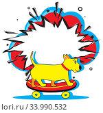 Купить «Retro empty comic speech bubble and cute dog rides on skateboard towards summer adventures. Boom pop art explosion. Vector bright cartoonish comics banner. Pop-art style. Template for your design», иллюстрация № 33990532 (c) Dmitry Domashenko / Фотобанк Лори